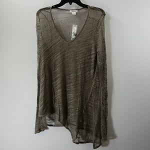 NWT Helmut Lang Grey Errant Silk Pullover Top L